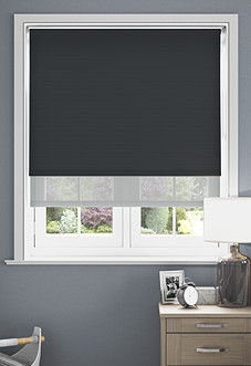 Rimini (Blackout), Black & Optima Tide - Double Roller Blind