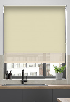 Rimini (Blackout), Ecru & Optima Linen - Double Roller Blind