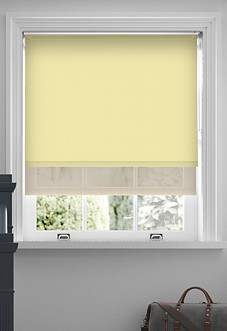 Rimini (Blackout), Sand & Optima Linen - Double Roller Blind