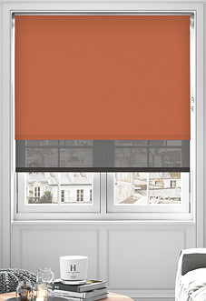 Rimini (Blackout), Terracotta & Optima Bracken - Double Roller Blind
