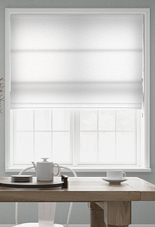 Faux Silk, White - Roman Blind