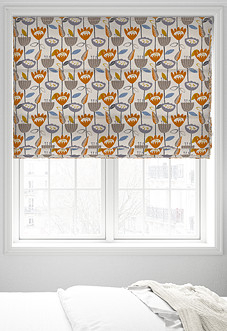Flower Power, Tangerine - Roman Blind