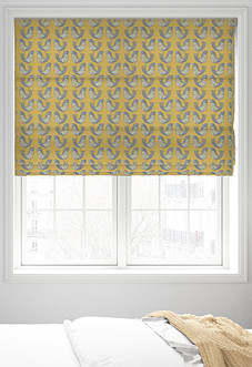 Scandi Birds, Mustard - Roman Blind