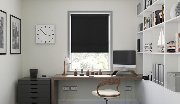 Black and White Motorised Roller Blinds