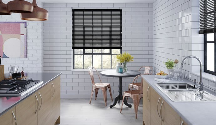 Black and White Venetian Blinds