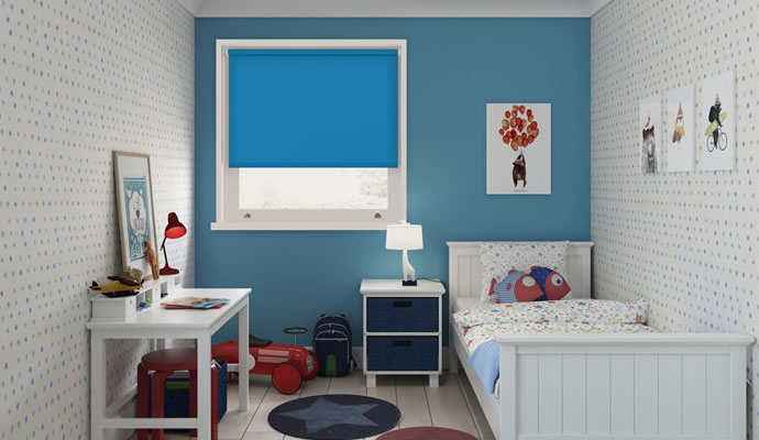 Blue Motorised Blackout Blinds
