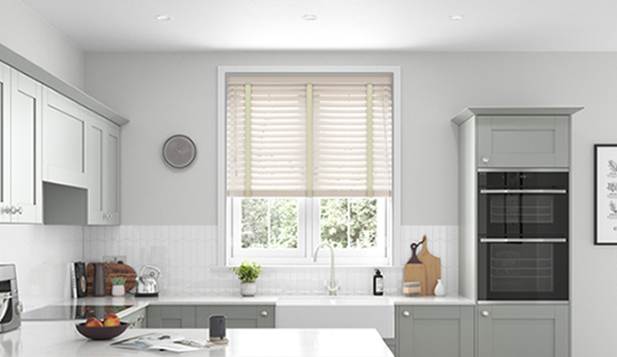 Cream Motorised Wooden Blinds