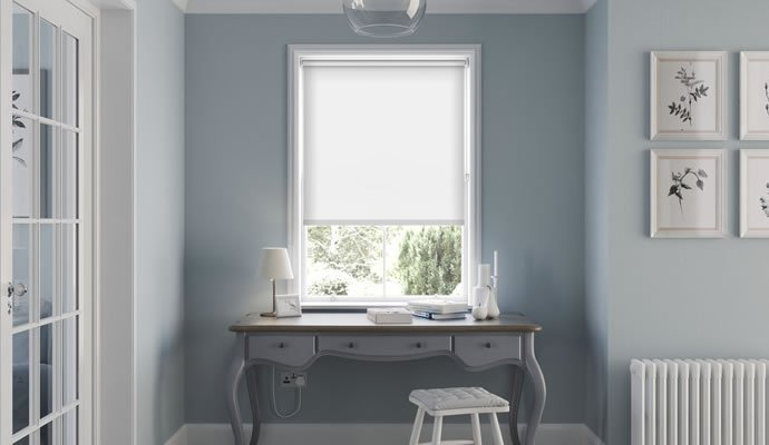 Black and White Motorised Blackout Blinds