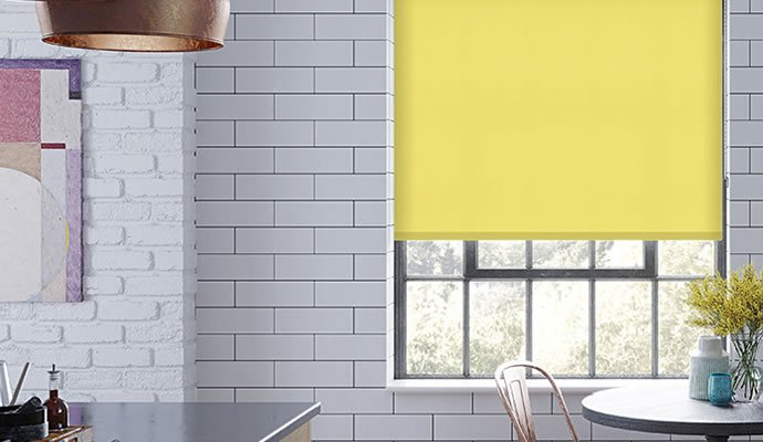 Yellow Motorised Blackout Blinds