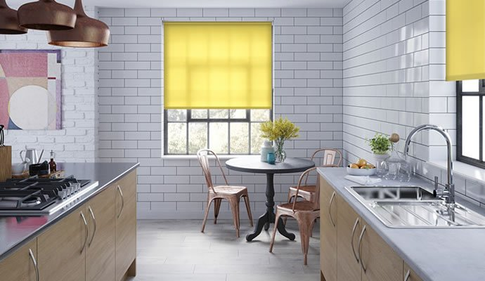 Yellow Motorised Roller Blinds